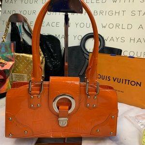 DOLCE & GABBANA orange patent shoulder bag